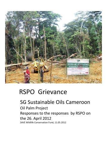 RSPO Grievance - SAVE Wildlife Conservation Fund