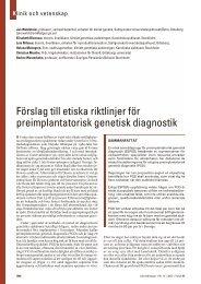 Förslag till etiska riktlinjer för preimplantatorisk genetisk diagnostik