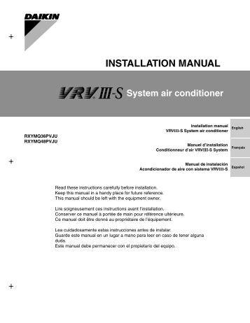 Daikin 4mxs32gvju Installation manual