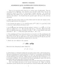 TRINITY COLLEGE ADMISSIONS QUIZ (MATHEMATICS WITH ...