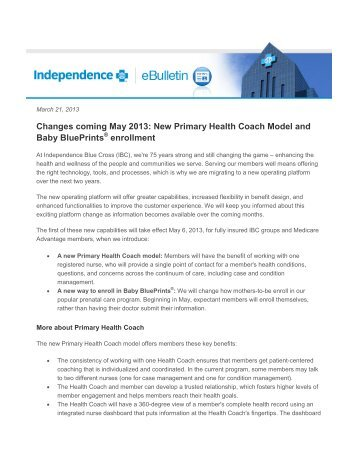 Changes coming May 2013: New Primary Health Coach Model and ...