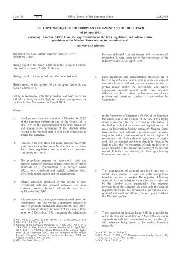 DIRECTIVE 2003/44/EC OF THE EUROPEAN ... - EUR-Lex