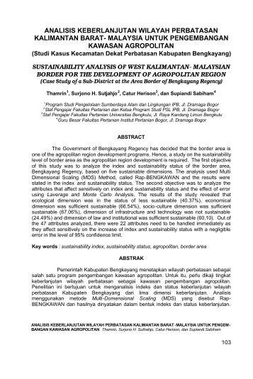 Analisis Keberlanjutan Wilayah Perbatasan Kalimantan Barat