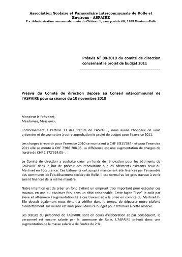 Préavis N 08-2010 du comité de direction concernant le ... - aspaire