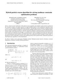 Hybrid particle swarm algorithm for solving nonlinear ... - WSEAS