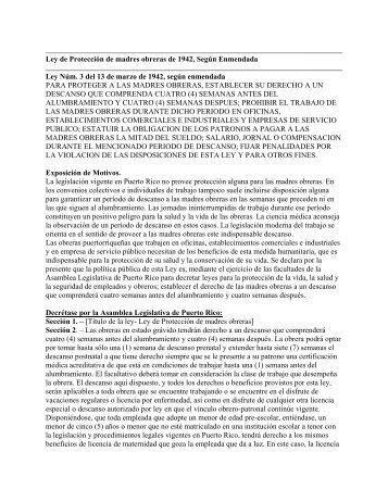 Ley de Protección de madres obreras de 1942, Según Enmendada ...