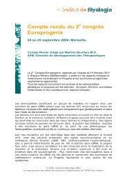 Compte rendu du 2 congrès Europrogeria - Institut de Myologie