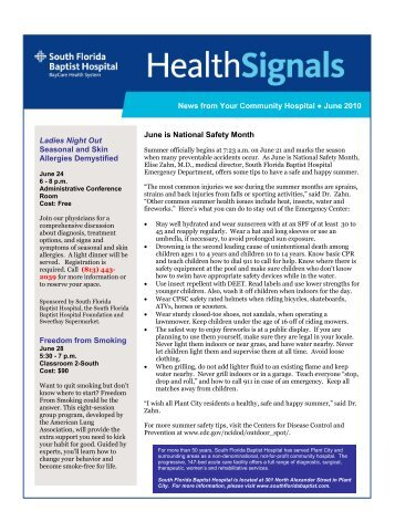 News from Your Community Hospital June 2010 June is National ...