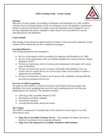 AODA Training Script – Scouts Canada Opening Welcome to Scouts ...