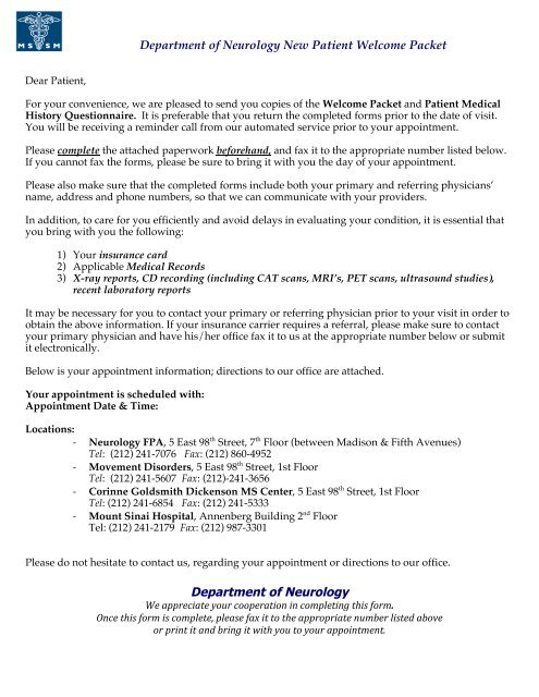 Neurology New Patient Welcome Packet - Mount Sinai Hospital