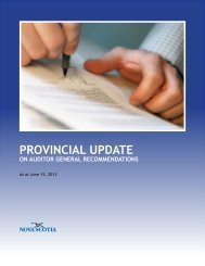 Provincial Update on the Auditor General Recommendations