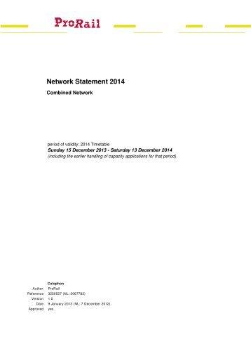 Network Statement 2014 - ProRail