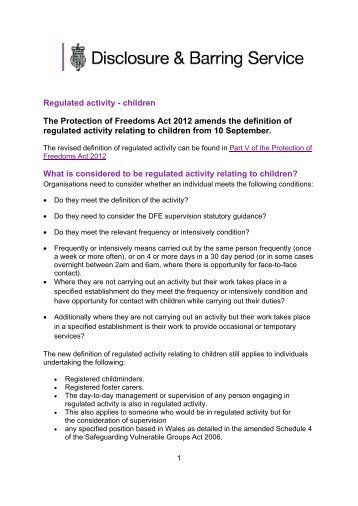 Regulated activity - children The Protection of Freedoms Act 2012 ...
