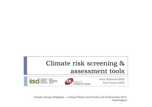 Climate risk screening & assessment tools