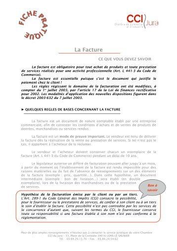 Fiche pratique juridique - La Facture - CCI du Jura