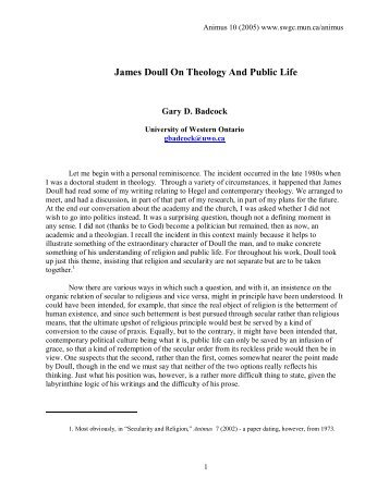 James Doull On Theology And Public Life