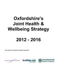 Oxfordshire's Joint Health & Wellbeing Strategy 2012 - 2016