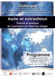 Asile et extradition - The Graduate Institute, Geneva
