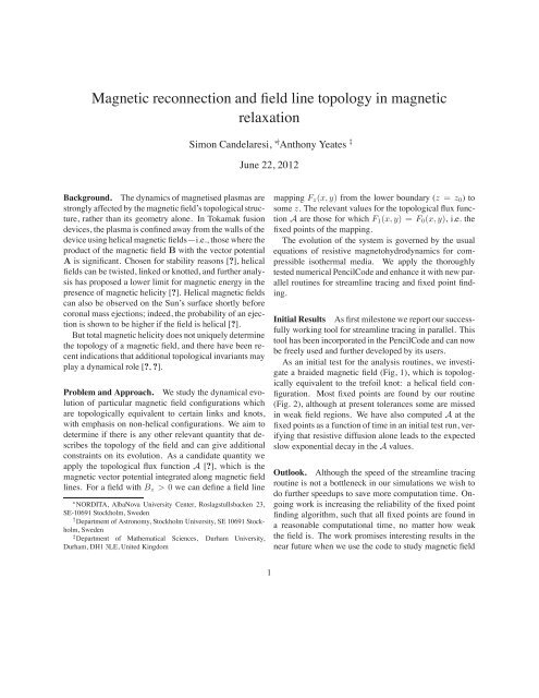 Magnetic reconnection and field line topology in magnetic ... - EPCC