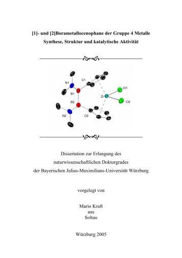 [2]Borametallocenophane der Gruppe 4 Metalle Synthese, Struktur ...