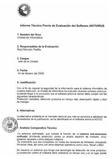 Informe Técnico Previo de Evaluación del Software ... - Imarpe