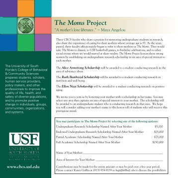 "Flyer describing ""The Moms Project"" - Wusf"