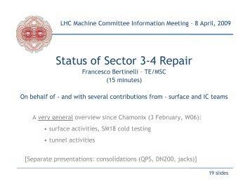 F. Bertinelli, presentation 08-Apr-09 - TE-MSC-CMI