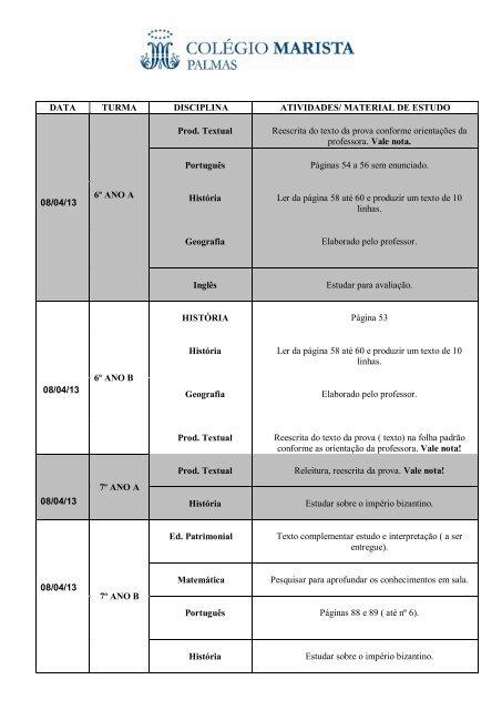 MATERIAL DE ESTUDO 08/04/13 6º ANO A Prod. Textual Reescrita ...