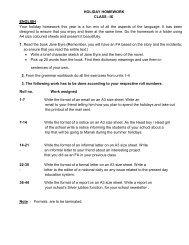 Holiday Homework Class IX - Apeejay Education Society