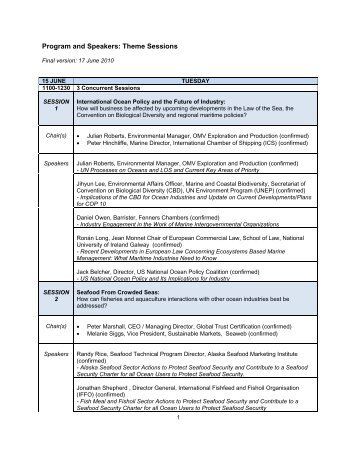 Program and Speakers: Theme Sessions - World Ocean Council