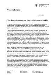 Offizielle Pressemitteilung - Münchner Philharmoniker