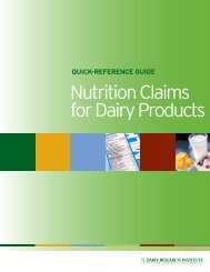 QuIck-RefeRence GuIDe to nutRItIon clAIms foR DAIRy PRoDucts