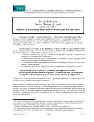 Reform of accounting and audit for healthcare for providers