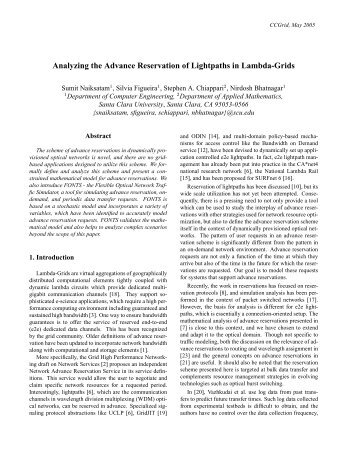 Analyzing the Advance Reservation of Lightpaths in ... - CiteSeerX
