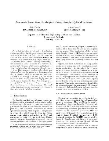 Accurate Insertion Strategies Using Simple Optical Sensors