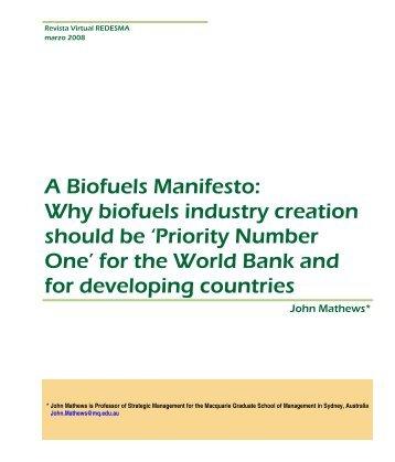 A Biofuels Manifesto - Revistas Bolivianas