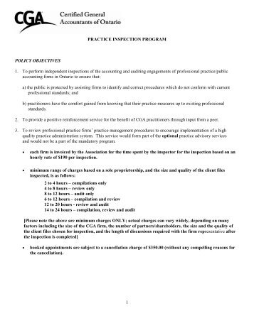 Practice Inspection Program Policy Objectives - Certified General ...