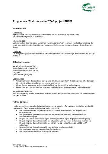 "Programma ""Train de trainer"" TAS project SBCM"
