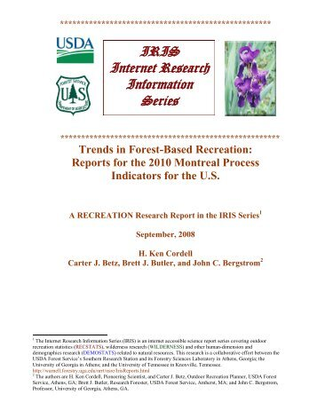 Trends in Forest-Based Recreation - Southern Research Station ...