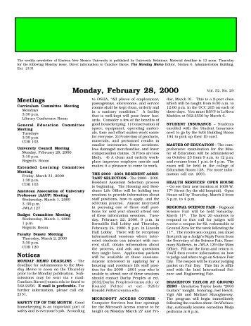 Monday, February 28, 2000 - Eastern New Mexico University
