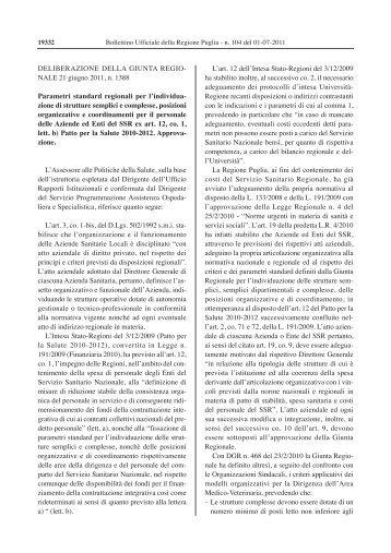 "Parametri standard regionali - Ente Ospedaliero ""S. de Bellis"""