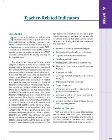 Teacher-Related Indicators - DISE