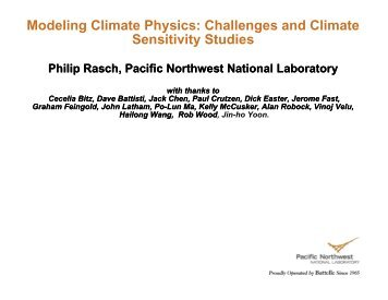 Modeling Climate Physics: Challenges and Climate Sensitivity Studies