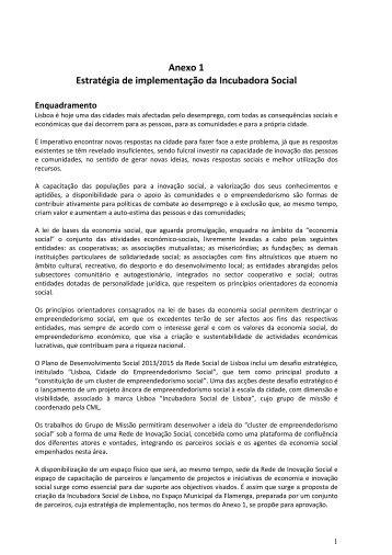 Anexo 1 Estratégia de implementação da Incubadora Social