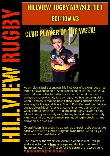 CLUB PLAYER OF THE WEEK! - Hillview Rugby