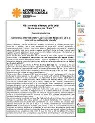 G8: la salute al tempo della crisi Quale ruolo per l'Italia? - Aidos