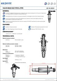 VALVE HEAD W15 TYPE N, PTFE GENERAL FEATURES ... - Keofitt
