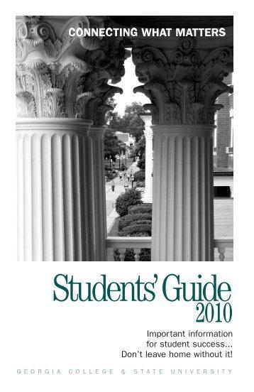 Students Guide 2010 | Undergraduate Admissions | Georgia College