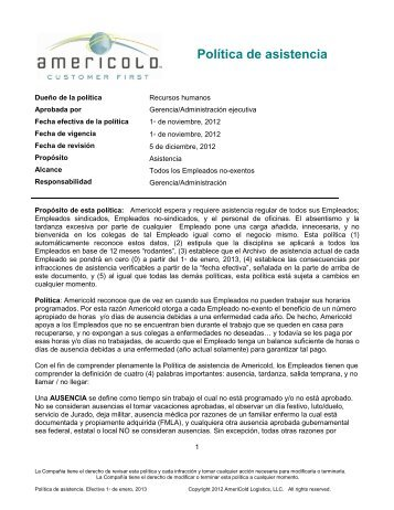 Attendance Policy SPANISH final 01-01-13 - Americold