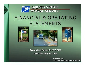 AP 9, PFY 2003 Financial & Operating Statements